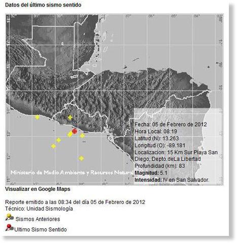 Tercer temblor a El Salvador