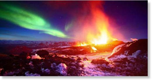 Aurora boreal - Volcan