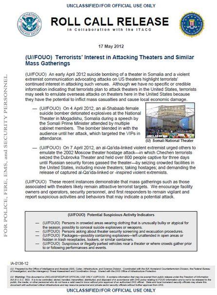 El FBI y el DHS advirtieron en mayo sobre terroristas planeando atacar cines FBI_Terror_Warning_US_Theaters