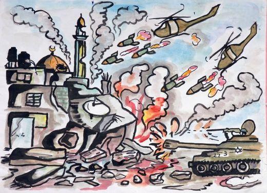 Dibujo del ataque de helicópteros y tanques a la ciudad de Gaza