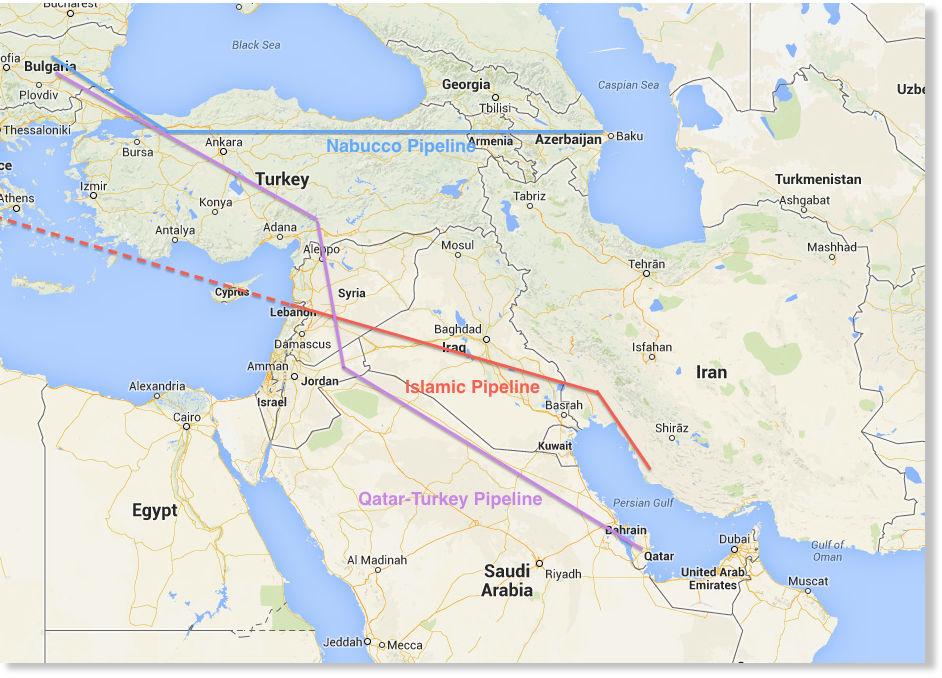 Resultado de imagen para Mapa de los gasoductos propuestos por Qatar-Turquía e Irán-Irak-Siria que atraviesan Siria