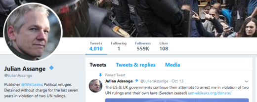 Julian Assange Twitter account