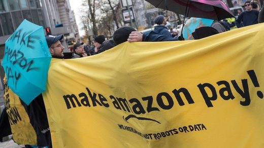 Demonstration against Amazon workers' conditions in Germany.