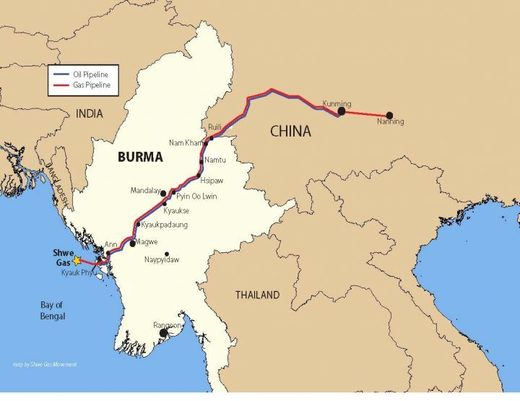 Birmania Myanmar oleoducto pipeline Burma China