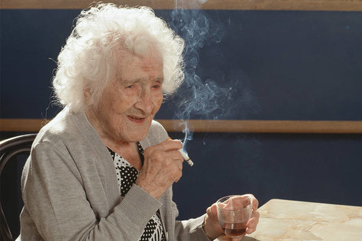 Jeanne Calment, smoking a cigarette.