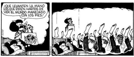 mafalda mundo manejado con los pies
