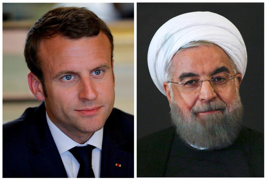 Emmanuel Macron and Hassan Rouhani