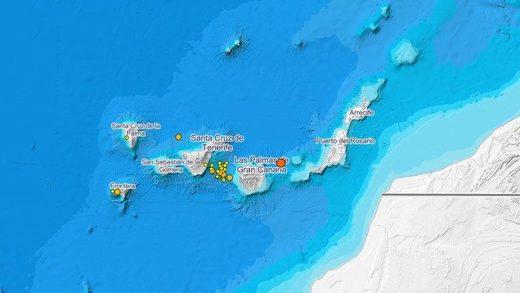 Mapa de terremotos del ING de los últimos 10 días en Canarias.