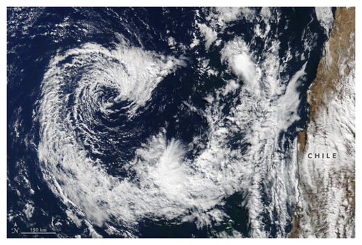 Rare Cyclone off Chile