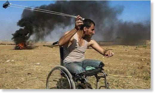 Palestinian man slingshot