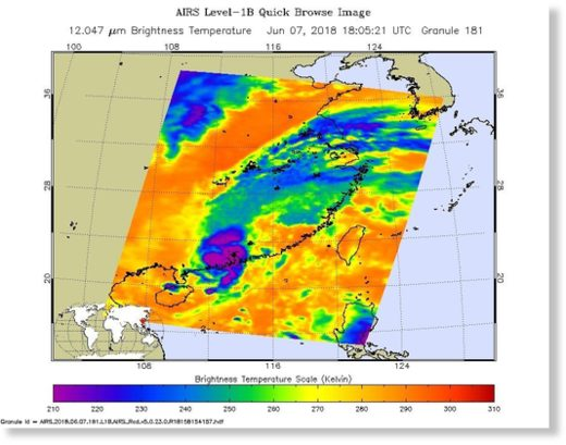 NASA's Aqua satellite passed over Tropical Depression Ewiniar on June 7 at 2:05 p.m. EDT (1805 UTC) and saw coldest cloud top temperatures (purple) around the center of circulation in a small area on the southeastern China coast.
