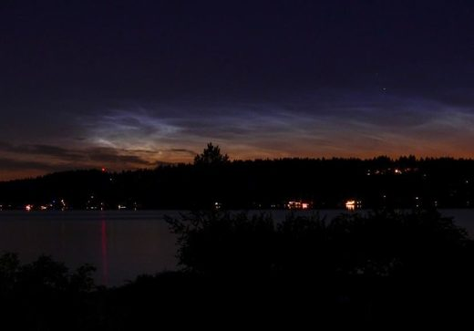 Noctilucent clouds over Seattle, WA
