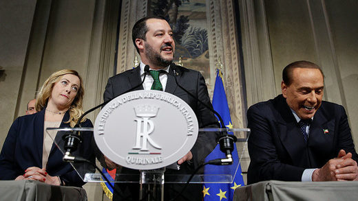 Georgia Meloni, Matteo Salvini y Silvio Berluscon