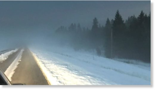 Sasha Selby says they went from summer to winter in a hurry on Tuesday, driving along Highway 22 from Calgary.