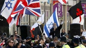 EDL rally against Islam and in support of Israel, outside the Israeli Embassy in London