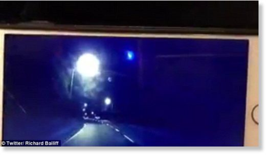 Dash cam footage shared on Twitter shows the bright blue light descending through the night skies in Perth