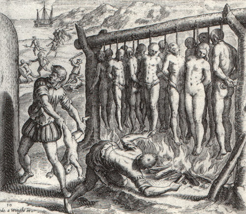 Grabado de Theodor de Bry,propaganda antiespañola.