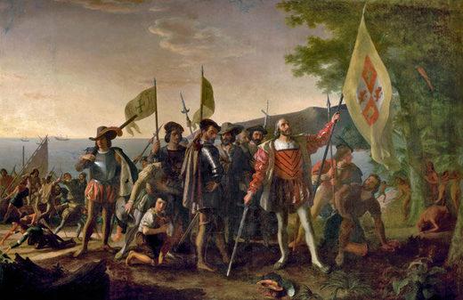 Desembarco de Colón. Pintura de John Vanderlyn.