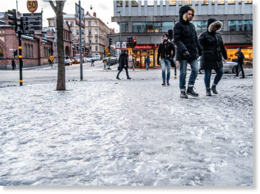 Icy pavements in Stockholm in January