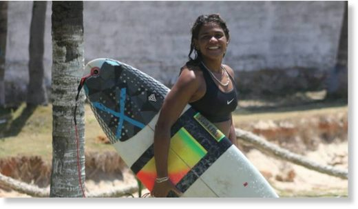 23-year-old Ceará champion Luzimara Souza was training off the coast of Fortaleza when the lightning bolt struck.