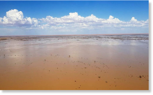 Flood waters flowing towards Lake Eyre in March 2019.