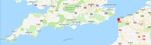 Cardiff, London and Wimeraux on Google Maps