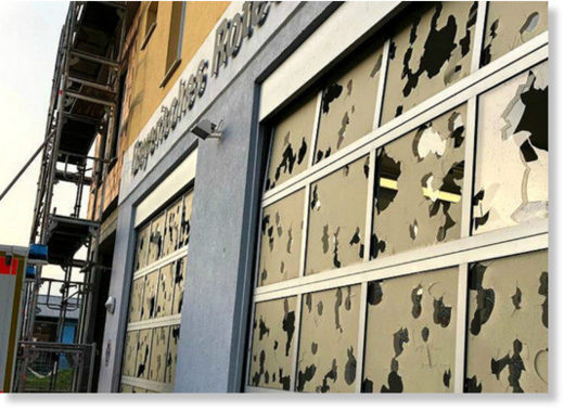 The hail caused damage to shop fronts, buildings
