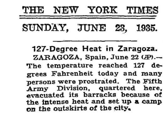 Noticia publicada hace 84 años en el New York Times que habla de una ola de calor especialmente intensa en Zaragoza.
