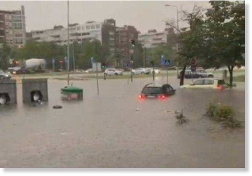 Flooding in Novi Beograd, Serbia yesterday, June 23rd