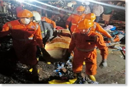 Indian National Disaster Response Force (NDRF) teams carrying out rescue operations in Maharashtra's Ratnagiri.