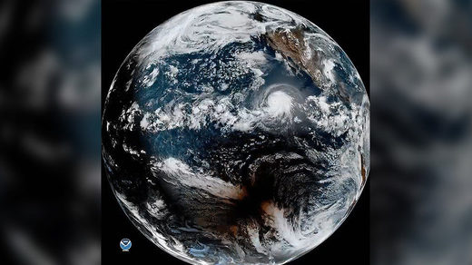 Incredible satellite footage catches huge hurricane and solar eclipse at the same time