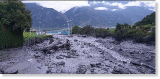 Aftermath of major flash floods / debris flows in Chamoson, Valais, Switzerland