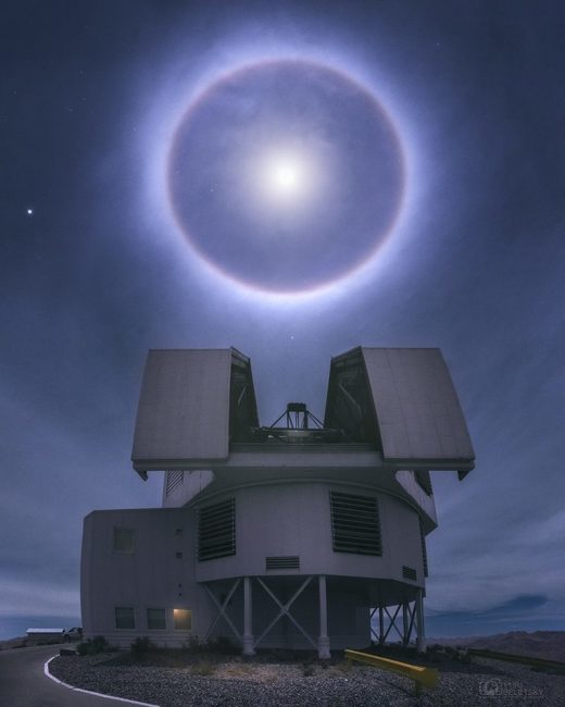 Moon halo over Chile