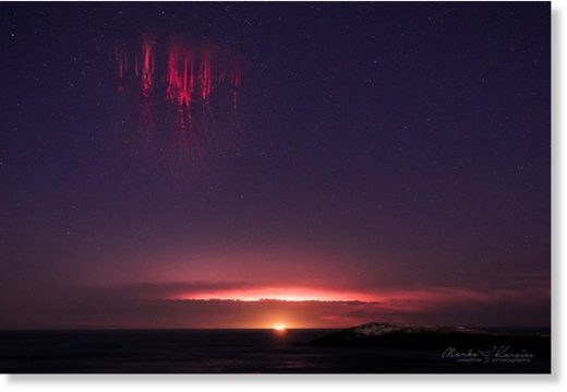 Red sprites above a mesoscale convective system over the northern Adriatic sea, as seen from north Italy. July 7th, 2019