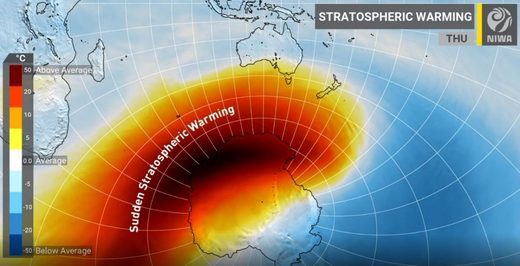 'Sudden Stratospheric Warming' event could bring icy weather to New Zealand