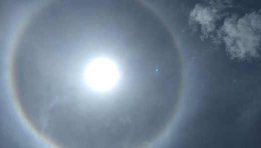 Sun halo over Tura, India