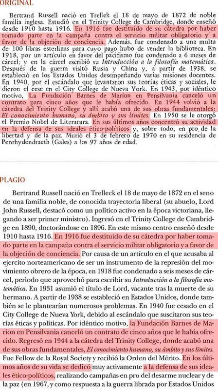 Plagio del libro de Cruz (pág. 27 ) a «Historia de la Filosofía», de Nicola Abbagnano (pág. 627) - ABC