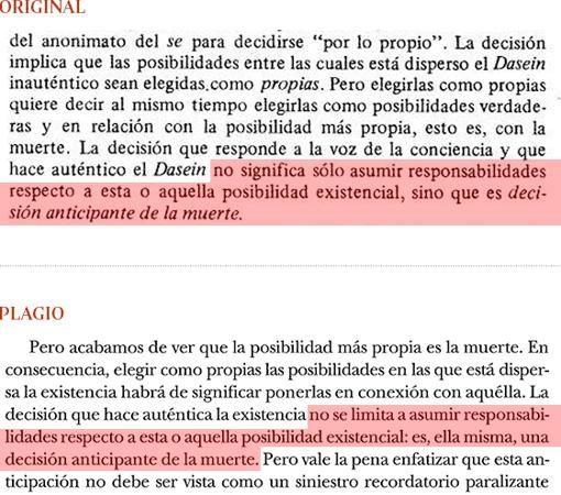 Plagio del libro de Cruz (pág. 193) a «Introducción a Heidegger», de G. Vattimo (pág. 53) - ABC