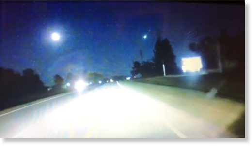 A car dashcam recorded a fireball streaking across the night sky in North Carolina.