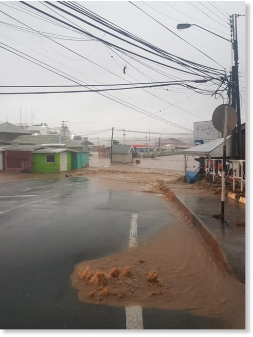 Flooding in Lowlands, Tobago, 22 September 2019, after storm surge and heavy rain from Tropical Storm Karen.