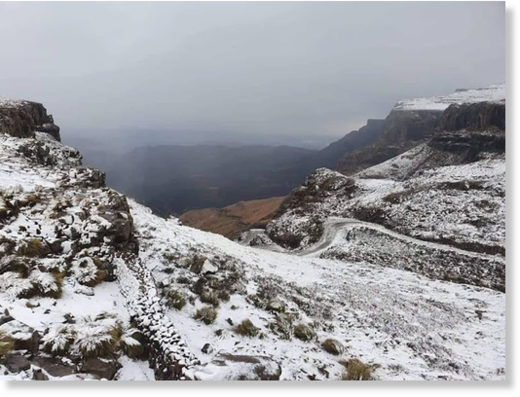 Light snow fell over Sani Pass, between KZN and Lesotho, on Monday.