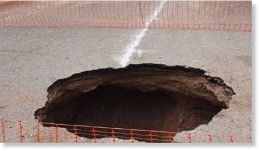 A man reportedly fell into this sinkhole late Monday afternoon.