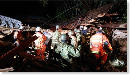 Japan Ground Self-Defense Force at a landslide site in Chiba City.
