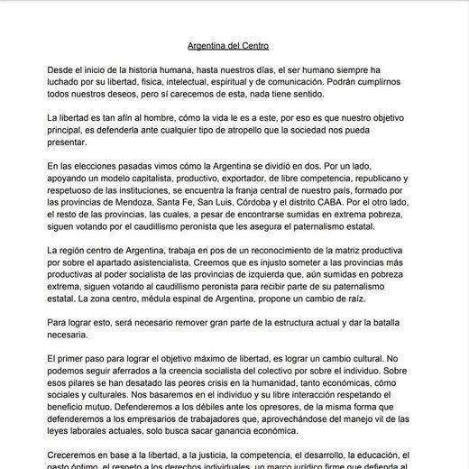 Las elites dividiendo a La Argentina en dos: Argentina Central, la movida separatista post elecciones