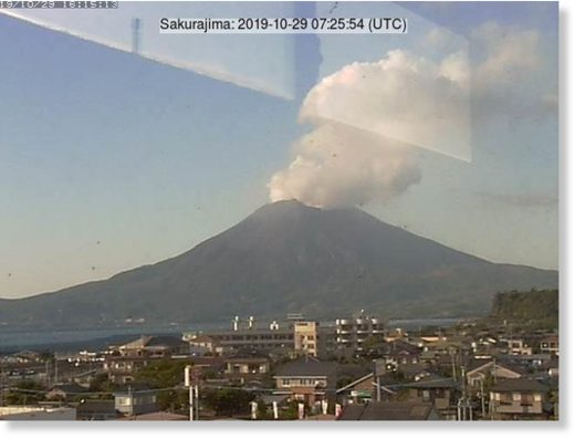 Eruption from Sakurajima on 29 October
