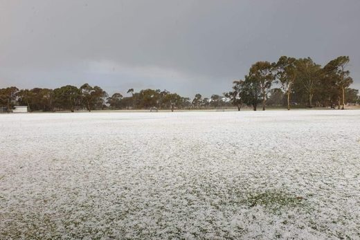 Hailstones blanket Bruce Hewett's property at Glossop, South Australia