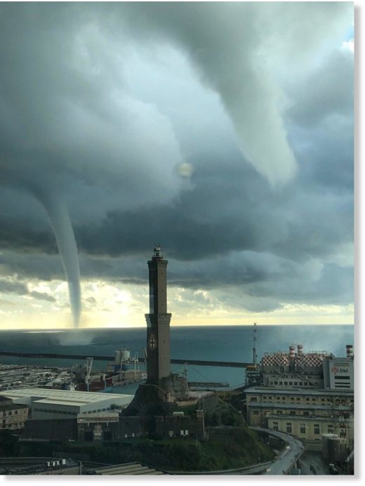 Double tornado today in Genoa, Italy