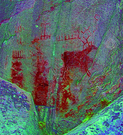 La herramienta Dstretch permite mejorar digitalmente los símbolos del arte rupestre que ya no son visibles a simple vista (Bettina Schulz Paulsson)