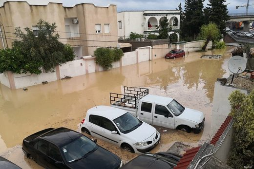 Heavy rain hit Tunisia causing floods
