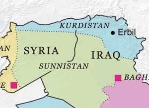 Mapa publicado por la investigadora estadounidense Robin Wright en 2013, o sea un año antes de las mutaciones de Daesh y del PKK/YPG.